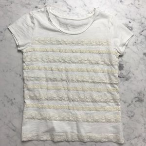 Tops - White Ivory Striped Lace Short Sleeve Crop Top Tee